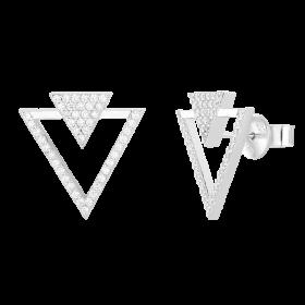 Srebrne kolczyki trójkąty z cyrkoniami