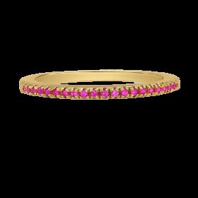 Pierścionek złocony z różowymi cyrkoniami