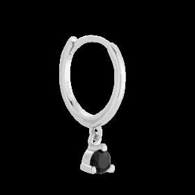 Srebrny kolczyk z czarną cyrkonią