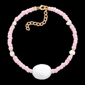Bransoletka z różowych koralików i pereł białych