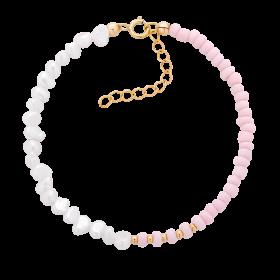 Bransoletka z różowych koralików i pereł