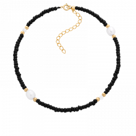 Bransoletka na kostkę z koralików i pereł oraz kuleczek gold-filled