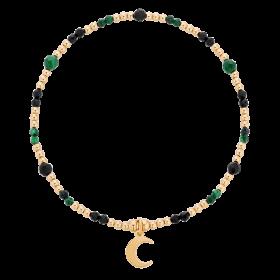 Bransoletka z kamieni naturalnych - malachitu i agatu z zawieszką księżycem