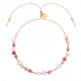 Bransoletka z pereł i kamieni naturalnych - rodonit, kamień słoneczny, krzemień pasiasty