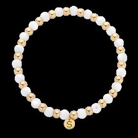 Bransoletka z masy perłowej i kulek gold-filled