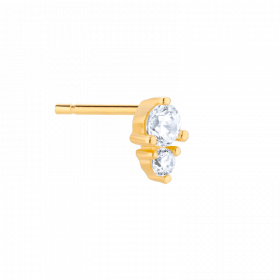 Złocony kolczyk sztyft z cyrkoniami