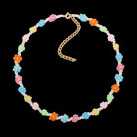 Naszyjnik z kwiatkami wykonanymi z kolorowych koralików