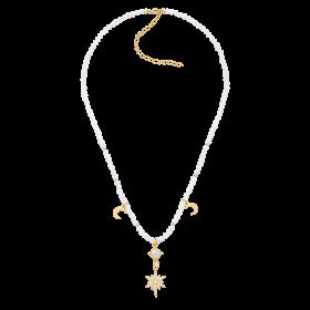 Naszyjnik z masy perłowej z zawieszkami - gwiazdą i księżycami