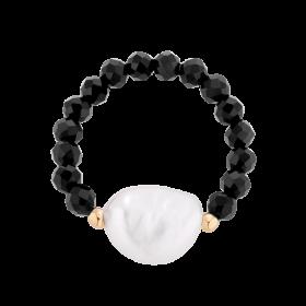 Pierścionek na gumce z perłą oraz z kamieniem naturalnym - agatem