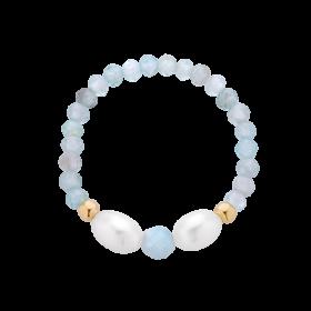 Pierścionek z perłami i korundem