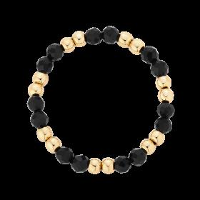 Pierścionek elastyczny ze spinelem i kuleczkami gold-filled