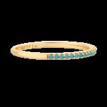 Złocony pierścionek z niebieskimi cyrkoniami