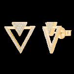 Kolczyki trójkąty z cyrkoniami Double Shine Gold