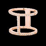 Pierścionek One z różowym złotem i cyrkoniami