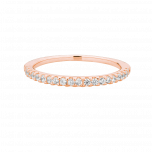 Pierścionek Half White  różowym złotem i cyrkoniami