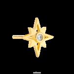 Kolczyk ze srebra złoconego gwiazda północna