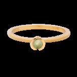 Pierścionek złocony z zieloną cyrkonią