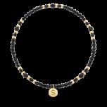 Czarna bransoletka z kamieni naturalnych - agatu i spinelu oraz kuleczek gold-filled