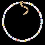 Bransoletka na kostkę z perłami i kolorowymi koralikami