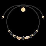 Bransoletka wykonana z kamieni naturalnych - krzemień pasiasty, agat i spinel