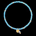 Bransoletka z niebieskich koralików z zawieszką