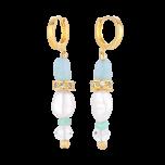 Wiszące kolczyki z perłami i kamieniami naturalnymi