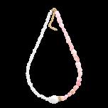 Naszyjnik z pereł i opalu różowego