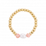Pierścionek elastyczny z perłą i rodonitem oraz kuleczkami gold-filled